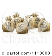 Clipart 3d Money Sacks With Currency Symbols Royalty Free Vector Illustration by AtStockIllustration
