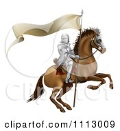 Clipart 3d Mounted Knight With A Banner Flag Royalty Free Vector Illustration