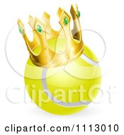 Clipart 3d Tennis Ball Wearing A Golden Crown Royalty Free Vector Illustration by AtStockIllustration