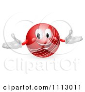 Clipart 3d Happy Cricket Ball Mascot Royalty Free Vector Illustration by AtStockIllustration