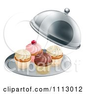 Clipart 3d Cupcakes On A Platter Under A Cloche Royalty Free Vector Illustration