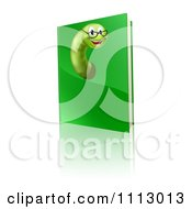 Clipart Happy Worm Wearing Glasses And Emerging From A Green Book Royalty Free Vector Illustration by AtStockIllustration