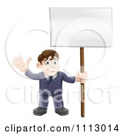 Clipart Happy Businessman Waving And Holding A Sign Royalty Free Vector Illustration
