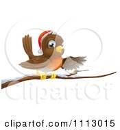 Clipart Happy Christmas Robin Wearing A Santa Hat And Perched On A Snowy Branch Royalty Free Vector Illustration