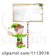 Clipart Happy Christmas Elf Waving And Holding A Sign Royalty Free Vector Illustration by AtStockIllustration