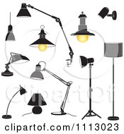 Clipart Black And White Lamps Royalty Free Vector Illustration