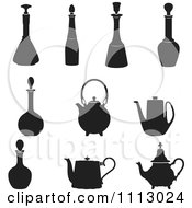 Silhouetted Bottles And Tea Pots
