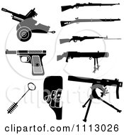 Clipart Black And White Rifles And Weapon Accessories Royalty Free Vector Illustration by Frisko