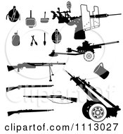 Clipart Black And White Rifles And Accessories Royalty Free Vector Illustration by Frisko