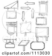 Clipart Black And White Vintage Signs And Shingles Royalty Free Vector Illustration