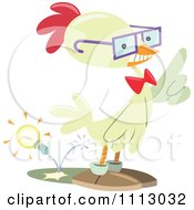 Smart Nerdy Chicken With An Idea Light Bulb Shooting Out Of His Butt