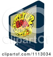 Retro Lcd Television Screen With A Comic Blam Explosion