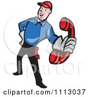 Clipart Retro Telephone Repair Man Holding Out A Red Receiver Royalty Free Vector Illustration