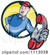 Clipart Retro Telephone Repair Man In A Circle Of Rays Holding Out A Red Receiver Royalty Free Vector Illustration by patrimonio