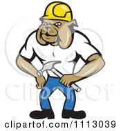 Clipart Retro Construction Bulldog Holding A Hammer Royalty Free Vector Illustration