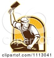 Clipart Retro Butcher Cutting A Ham Over An Arch Of Rays Royalty Free Vector Illustration by patrimonio