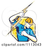 Clipart Retro Electrician Lineman Holding A Bolt In An Octagon Royalty Free Vector Illustration by patrimonio