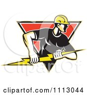 Clipart Retro Electrician Lineman Holding A Bolt In A Diamond Royalty Free Vector Illustration by patrimonio #COLLC1113044-0113