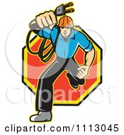 Clipart Retro Electrician Running With A Plug Over An Octogon Royalty Free Vector Illustration