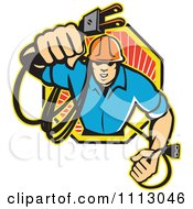 Clipart Retro Electrician Holding Out A Plug In An Octogon Royalty Free Vector Illustration