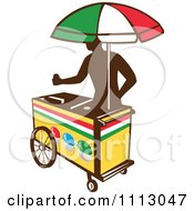 Clipart Silhouetted Ice Push Cart Vendor With An Italian Umbrella Royalty Free Vector Illustration
