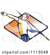 Clipart Retro Track And Field Javelin Thrower Over A Ray Diamond Royalty Free Vector Illustration