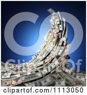Clipart 3d Cash Money Forming A Splashing Surf Wave Over Blue Royalty Free CGI Illustration
