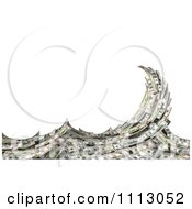 Clipart 3d Cash Money Forming A Splashing Surf Wave Over White Royalty Free CGI Illustration