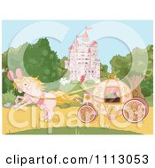Pink Fantasy Horses Pulling A Carriage Near A Fairy Tale Castle