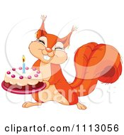 Clipart Cute Squirrel Holding A Birthday Cake Royalty Free Vector Illustration