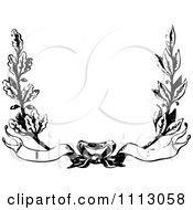 Clipart Vintage Black And White Floral Wreath With Banners Royalty Free Vector Illustration by Prawny Vintage
