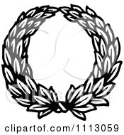 Clipart Vintage Black And White Leaf Wreath Royalty Free Vector Illustration by Prawny Vintage