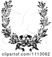 Clipart Vintage Black And White French Floral Wreath And Bow Royalty Free Vector Illustration by Prawny Vintage