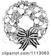 Clipart Vintage Black And White Fruit Wreath And Bow Royalty Free Vector Illustration by Prawny Vintage