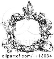 Clipart Vintage Black And White Floral Wreath And Ribbon Royalty Free Vector Illustration by Prawny Vintage