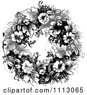 Vintage Black And White Floral Wreath