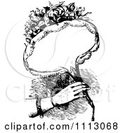 Clipart Vintage Woman Holding A Bouquet Of Flowers With Copyspace Royalty Free Vector Illustration