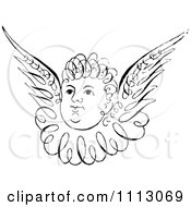 Clipart Black And White Angelic Cherub Face With Wings Royalty Free Vector Illustration