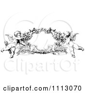 Clipart Black And White Angelic Cherubs Holding A Frame Royalty Free Vector Illustration by Prawny Vintage #COLLC1113070-0178