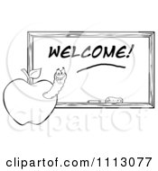 Clipart Black And White Happy Worm In An Apple By A Welcome Chalkboard Royalty Free Vector Illustration