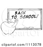 Clipart Black And White Happy Worm In An Apple By A Back To School Chalkboard Royalty Free Vector Illustration