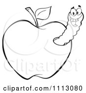 Clipart Happy Outlined Worm In An Apple Royalty Free Vector Illustration