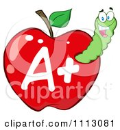 Clipart Happy Green Worm In A Red A Plus Apple Royalty Free Vector Illustration