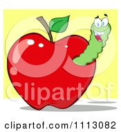 Clipart Happy Grinning Worm In A Red Apple Royalty Free Vector Illustration