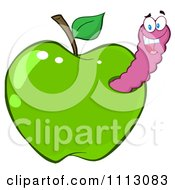 Clipart Happy Purple Worm In A Green Apple Royalty Free Vector Illustration