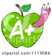 Clipart Happy Purple Worm In A Green A Plus Apple Royalty Free Vector Illustration