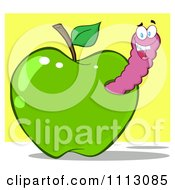 Clipart Happy Purple Worm In A Green Apple Over Yellow Royalty Free Vector Illustration