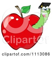 Clipart Happy Graduate Worm In A Red Apple Royalty Free Vector Illustration