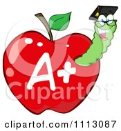 Clipart Happy Graduate Worm In A Red A Plus Apple Royalty Free Vector Illustration