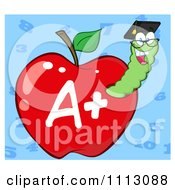 Clipart Happy Graduate Worm In A Red A Plus Apple Over Blue Royalty Free Vector Illustration